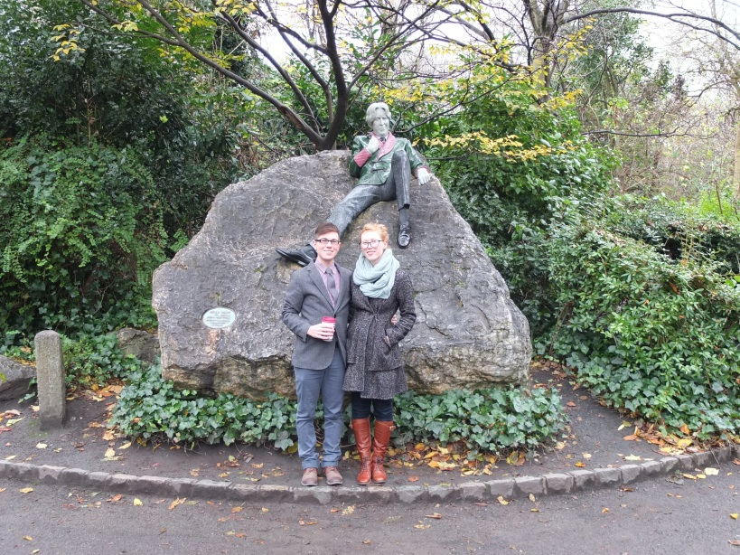 Steven and I with Oscar Wilde