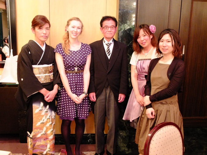 Myself, Serina (far right), Haruka (besides Serina) with Anna's parents.